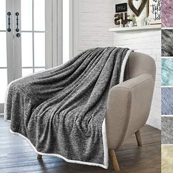 PAVILIA Premium Gray Sherpa Melange Throw Blanket for Couch,