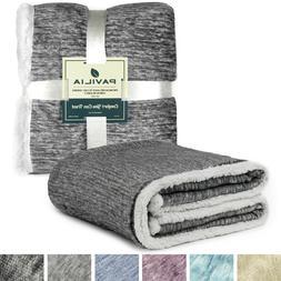 PAVILIA Premium Gray Sherpa Melange Throw Blanket for Twin B