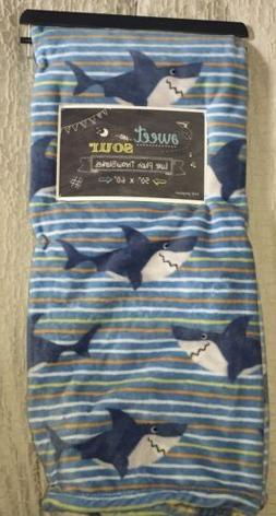 Great White SHARK  SOFT Plush Blue Boys Throw Blanket UNIQUE