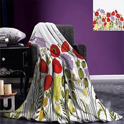 smallbeefly Green Flower Throw Blanket Hand Drawn Nature Sce