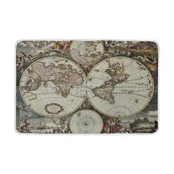 ALAZA Grey Vintage European Style World Map Compass Plush Th