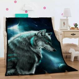 Grey Wolf Warm Flannel Throw Blanket Wild Animal Print Rug B