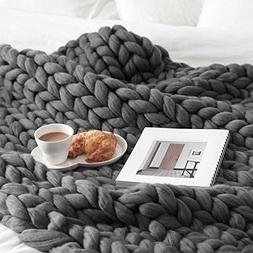 Hand Chunky Knitted Blanket,REYO Thick Wool Bulky Knitting T