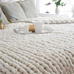 100X80cm Hand Chunky Knitted Blanket Soft Thick Wool Bulky K