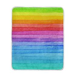 ALAZA Hand Drawn Colorful Rainbow Stripe Crystal Velvet Thro