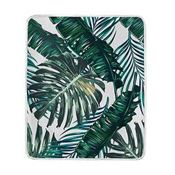 ALAZA Hand Drawn Palm Leaves Watercolor Tree Leaf Crystal Ve