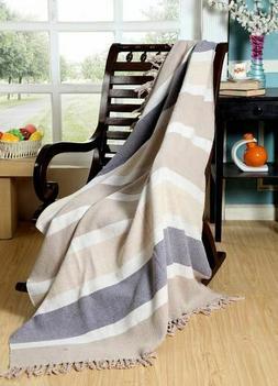 Hand Woven Stone Wash 100% Cotton Throw /Blanket Super Soft