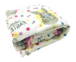 Happy Easter Bunny Throw Blanket: Soft and Cozy Velvet Fleec