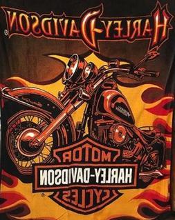 Harley Davidson Motorcycles Sunset Plush Queen Throw Blanket