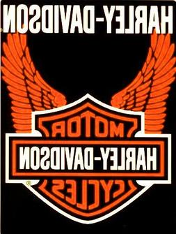 Harley Davidson Orange Wings Super Plush Throw Blanket Queen