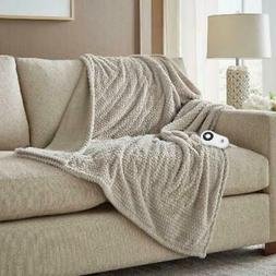 Serta Heated Electric  Honeycomb Faux Fur Throw- with 5 sett