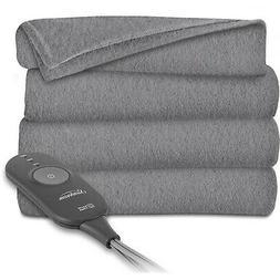 Sunbeam Heated Electric Throw Blanket Fleece Extra Soft, Bla