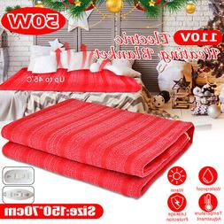 Heated Electric Throw Blanket Full Size Bed Red Home Warm Be