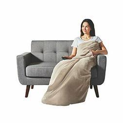 Sunbeam Heated Throw Blanket | Dual Pocket Microplush, 3 Hea