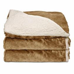 Sunbeam Heated Throw Blanket Reversible Sherpa/Royal Mink 3