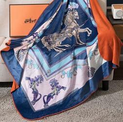 HERMES Throw Blanket Royal Velvet in shades Blue, Aqua, Pink
