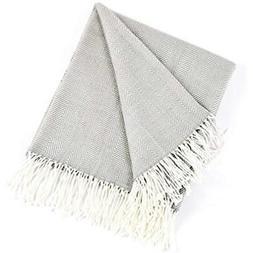 """Herringbone Fringed Cashmere-Like Throw Blanket, 50"""" X 60"""""""