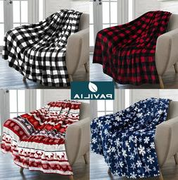 Holiday Christmas Theme Fleece Throw Blanket Sofa Couch Soft