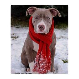 CafePress Holiday Pit Bull With Red Scarf Soft Fleece Throw