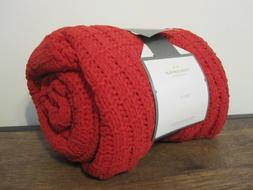"THRESHOLD Holiday RED CHENILLE KNIT THROW / Lap BLANKET 50""x"