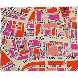Deny Designs Holli Zollinger, Paris Map Pink, Fleece Throw B