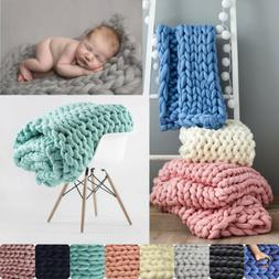 Home Blanket Chunky Knitted Door Mat Carpet Photo Prop Throw