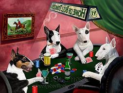 Home of Bull Terriers 4 Dogs Playing Poker Art Portrait Prin
