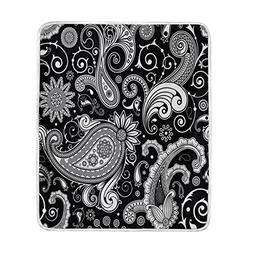 ALAZA Home Decor Black White Paisley Flower Blanket Soft War