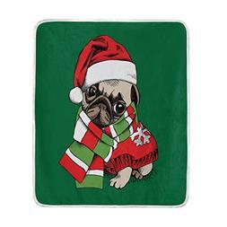 ALAZA Home Decor Cartoon Puppy Pug Dog Christmas Green Blank