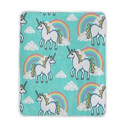 ALAZA Home Decor Cloud Unicorn Rainbow Soft Warm Blanket for
