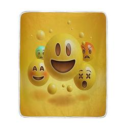 ALAZA Home Decor Funny Emoji Emoticon Yellow Blanket Soft Wa