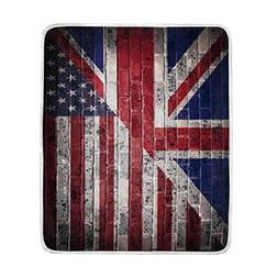 ALAZA Home Decor Retro American Flag British Flag Star Soft