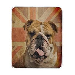 ALAZA Home Decor Vintage British Flag English Bulldog Dog So