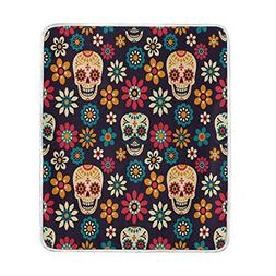ALAZA Home Decor Vintage Daisy Flower Day of the Dead Sugar