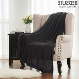 Bedsure Home Knitted Throw Blanket For Summer Sofa Twin 50x6