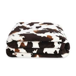 homesmart Brown Cow Print Warm & Cozy Coral Fleece Blanket S