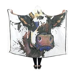 Artsadd Hooded Blanket Cow Splash Ink Wearable Blanket 60x50