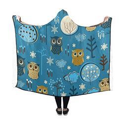 Artsadd Hooded Blanket Cute Owls in Winter Snow Wearable Bla