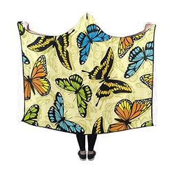 Artsadd Hooded Blanket Monarch Butterfly Wearable Blanket 60
