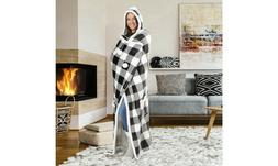 Hooded throw wearable blanket Buffalo Plaid Black and White