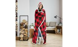 Hooded throw wearable blanket Buffalo Plaid Black and Red