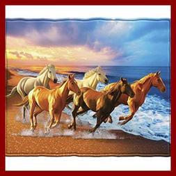 Horses On The Beach Fleece Throw Blanket FREE SHIPPING