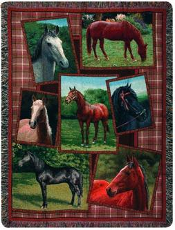 Horsing Around Tapestry Cotton Throw