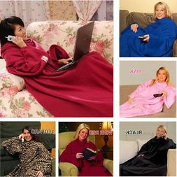 HOT Snuggie Fleece Blanket Sleeves Soft Throw Blanket - Blan
