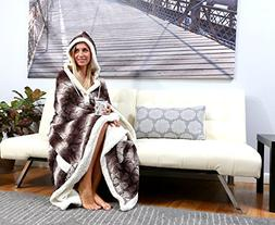 Chic Home HS3298-AN Shady Snuggle Hoodie Robe, Brown, Standa