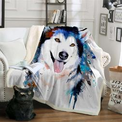 Husky by Pixie Cold Art Microfiber Bed <font><b>Blanket</b><
