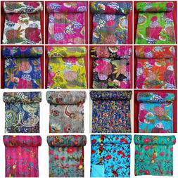 Indian 100%Cotton Kantha Quilt King/Twin Size Bedspread Blan
