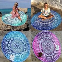 Indian Bohemian Tapestry Mandala Beach Throw Towel Round Yog