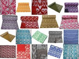 Indian Handmade Kanth Quilt Gudri Throw Bedspreads Blanket Q