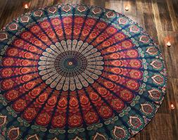 RAJRANG 1 X Indian Mandala Round Roundie Beach Throw Tapestr